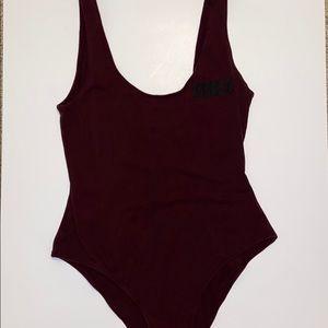 "La hearts maroon ""VIBES"" bodysuit"